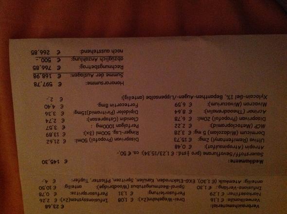 Anästhesie Rechnung Medizin Gericht