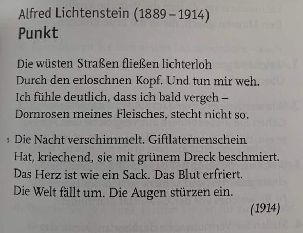 """Analyse des Gedichtes ,,Punkt"""" von Alfred Lichtenstein?"""