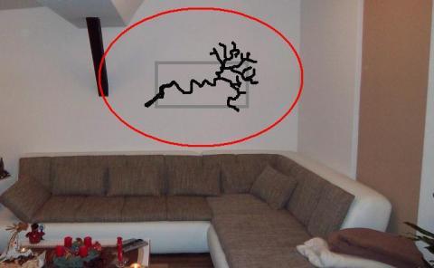 anbringung korkenzieher ast an wand deko. Black Bedroom Furniture Sets. Home Design Ideas