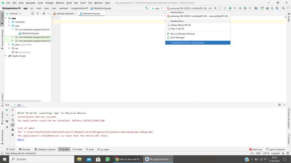 Android studio warum kann ich das projekt nicht auf meinem handy ausführen?