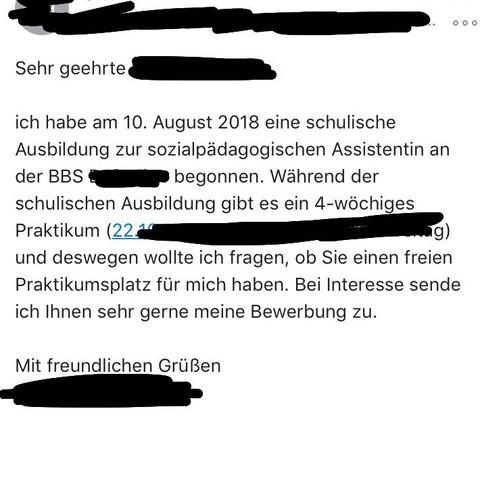 Email zum Praktikum  - (Schule, Arbeit, Ausbildung)
