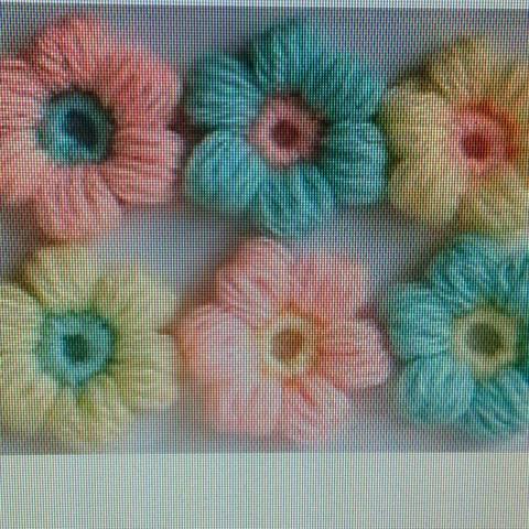 Häkelblüte mit Büschelmaschen  - (Blumen, Wolle, häkeln)