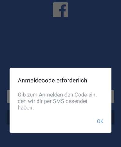 Facebook Anmeldecode