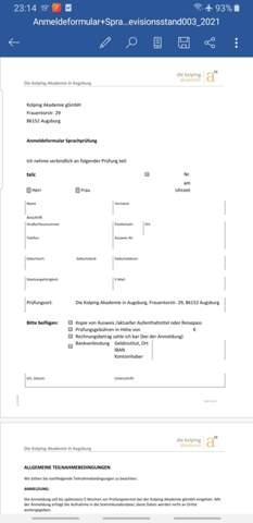 Anmeldung für eine Deutsch-Prüfung?