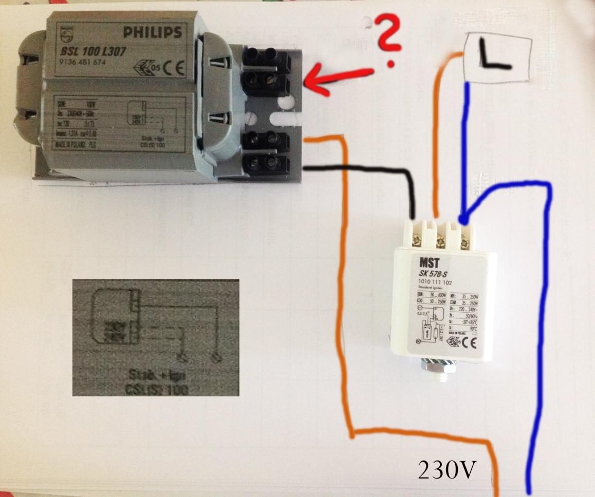 Anschließen Vorschaltgerät (Elektrik, Anschluss, Lampe)