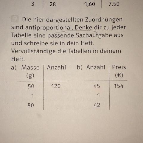 Antiproportionale Zuordnungen, Textaufgaben? (Schule, Freizeit ...