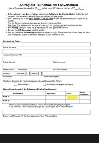 Antrag Losverfahren - Profil?