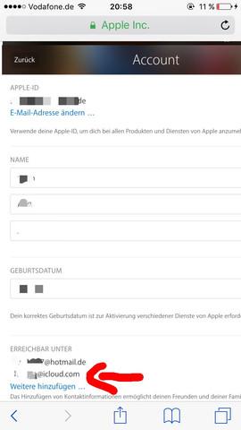 die e-mail mit icloud soll weg und die mit hotmail ist meine - (Apple, E-Mail, iCloud)