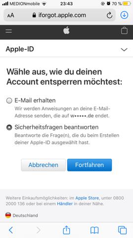 Apple ID Passwort vergessen und Sicherheitsfragen etc