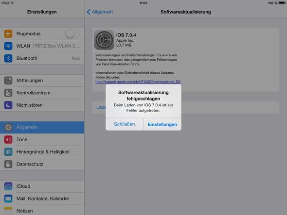 Fehlermeldung vom Update  - (Apple, Update, Fehlermeldung)