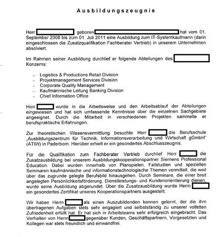 Ausbildungszeugnis - (deutsch, Sprache, Job)