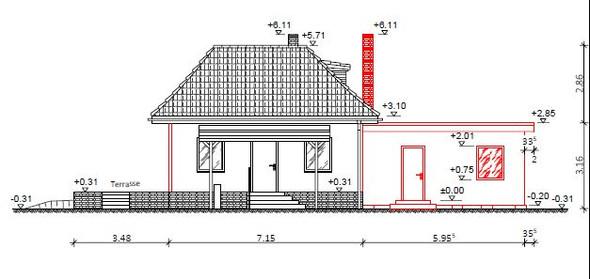 Seitenansicht - (bauen, Architektur, Hausbau)
