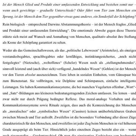 Text 1 - (Schule, deutsch, Tiere)