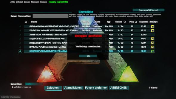Meldung1 - (Server, ARK Survival Evolved, Ladebildschirm)