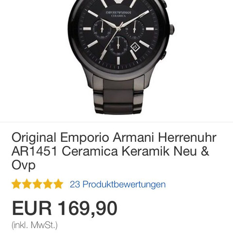 00980e17fe36 Armani Uhr Fake ebay  (Fälschung)