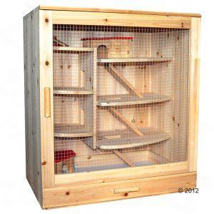 Holzkäfig, Gesamtmaße: 70 x 48 x 79 cm - (Tiere, Hamster, artgerecht)