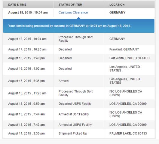 USPS Tracking bild - (Bestellung, USPS, Pamaj)