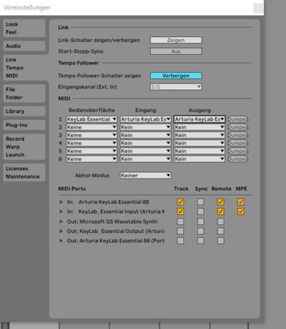 Arturia keylab Essential 88 in Ableton 11 einrichten?