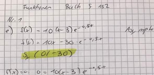 Asymptote und Achsenschnittpunkte einer Exponentialfunktion?