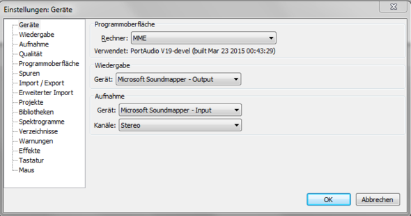 Screenshot zum Audacity Problem - (Audacity, How To, Systemsounds aufnehmen)