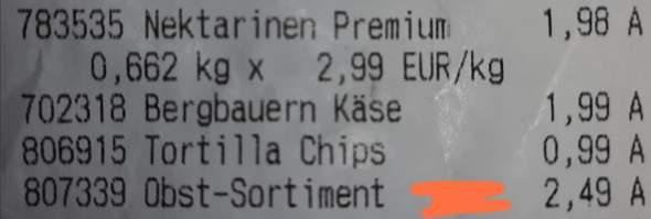 """Auf meinem Kassenzettel steht """"Obst Sortiment"""" - was soll das sein?"""