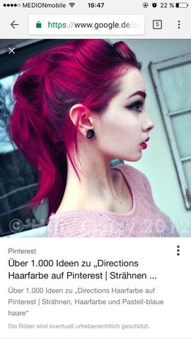 Auf Roten Haaren Pinke Direction Welcher Farbton Ist Das Auf Dem