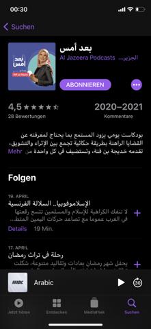 Auf welchem arabisch al jazeera Podcast?