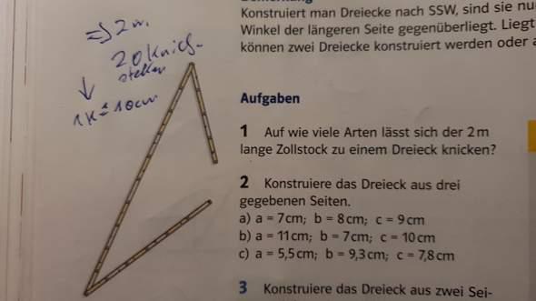 Auf wie viele Arten lässt sich der 2m lange Zollstock zu einem Dreieck knicken?