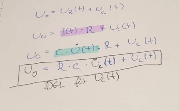 Aufladen eines Kondensators. Gleichung für Uc(t) beweisen?