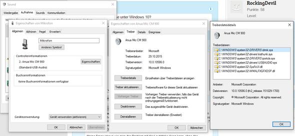 Infos zum Mikrofon - (Windows 10, Treiber, Mikrofon)