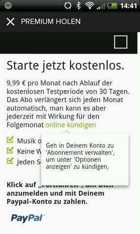 Am Handy - (Spotify, test-abo, Abonnement beenden)