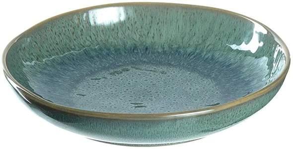 Aus welchem Material besteht die Glasur dieses Tellers?