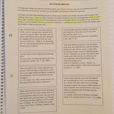 Aus Zitaten Einen Aufsatz Schreiben Schule Deutsch Zitat
