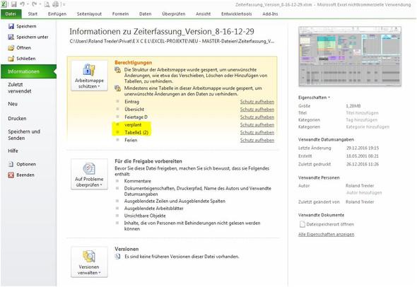 Informationen - (Excel, Informationen, berechtigung)