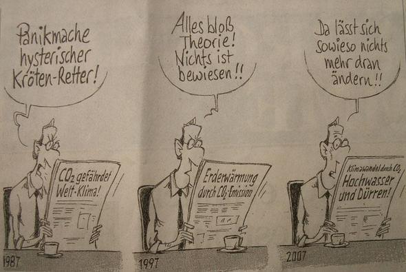 """""""Drei Gründe,nichts zu tun""""; Zeichnung: Gerhard Mester  - (Umwelt, Klima, Karikatur)"""