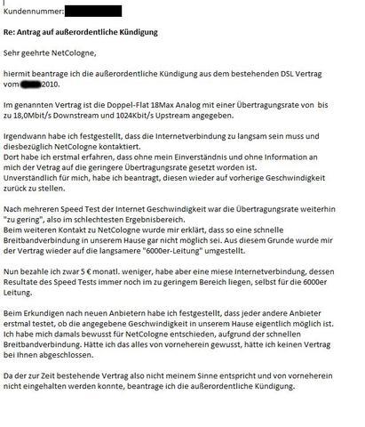 Außerordentliche Kündigung Netcologne Vertrag Brief Dsl