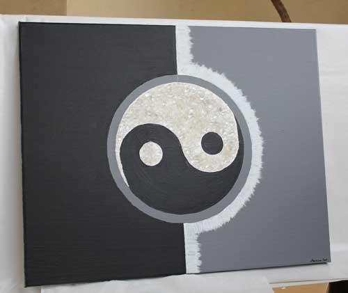 yin und yang symbol mit bergkristallen acrylbild 3d. Black Bedroom Furniture Sets. Home Design Ideas