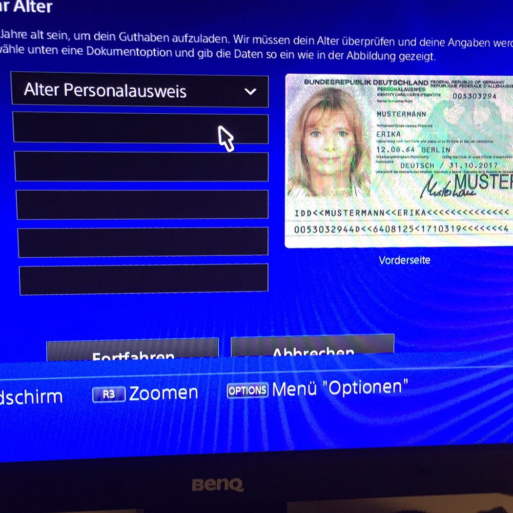 Playstation Store Personalausweis