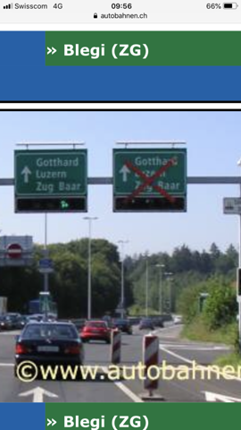 Autobahn Einfahrt sihlbrugg nach Ampel Autobahn Schild?