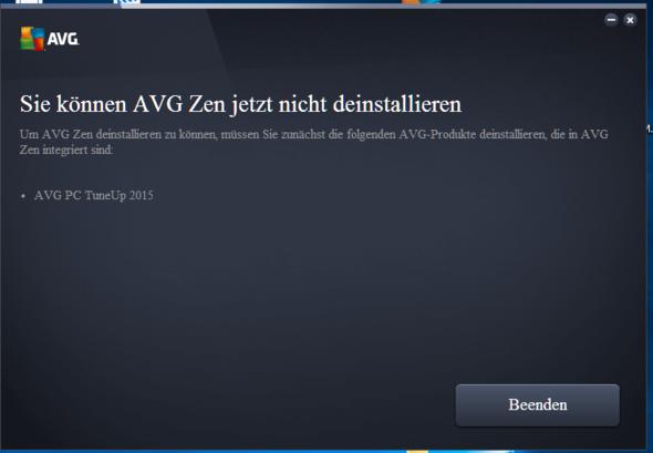 """""""Sie können AVG Zen jetzt nicht deinstalieren"""" - (Computer, PC, Windows)"""
