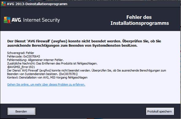 Meldung bei Deinstallation - (PC, Programm, Windows 7)