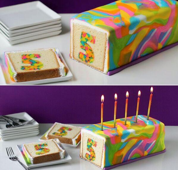 Kuchen mit bunten zahlen innen