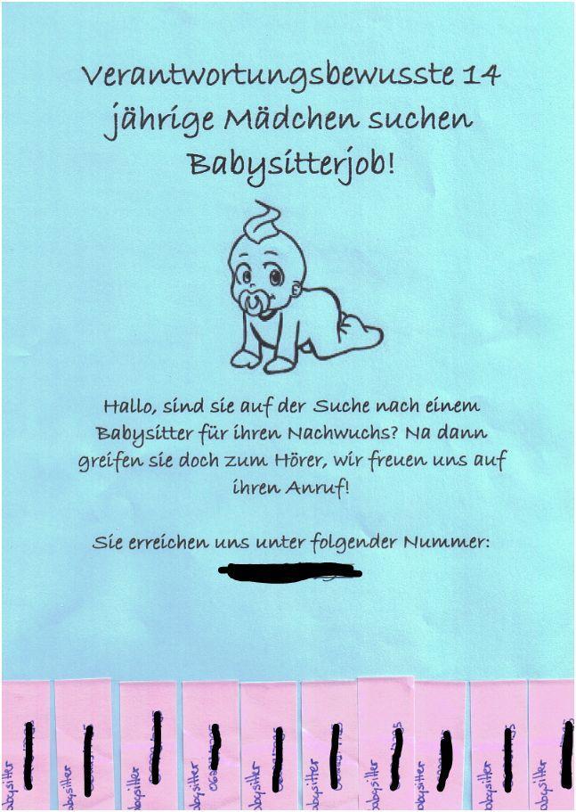 Babysitten Flyer Arbeit Baby Babysitting