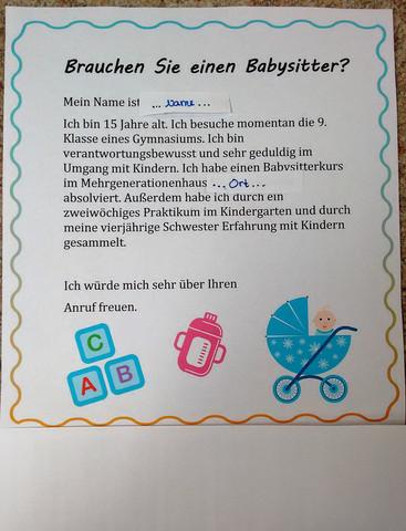 Der Aushang - (Kinder, Kindergarten, babysitting)