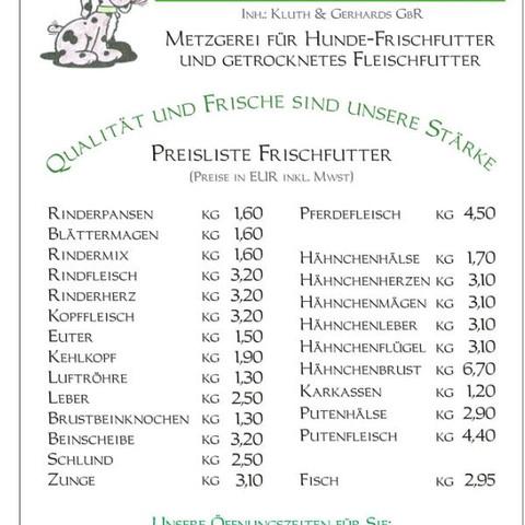 Preisliste Hunde Metzgerei Meiritz in Neuss - (Hund, Hundefutter, barf)