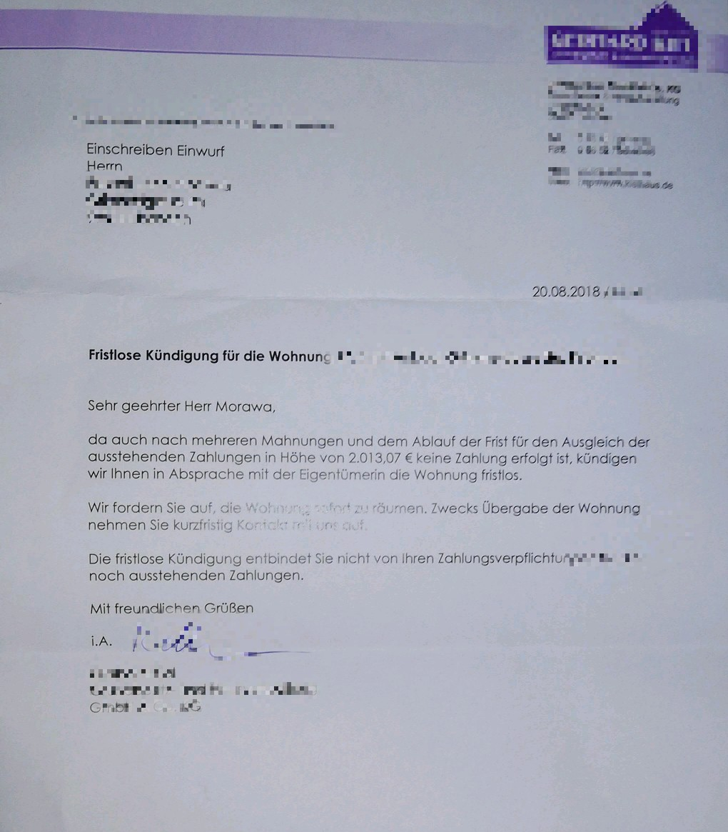 Beendigung Mietverhaltnis Durch Vermieter Wohnung Mietrecht