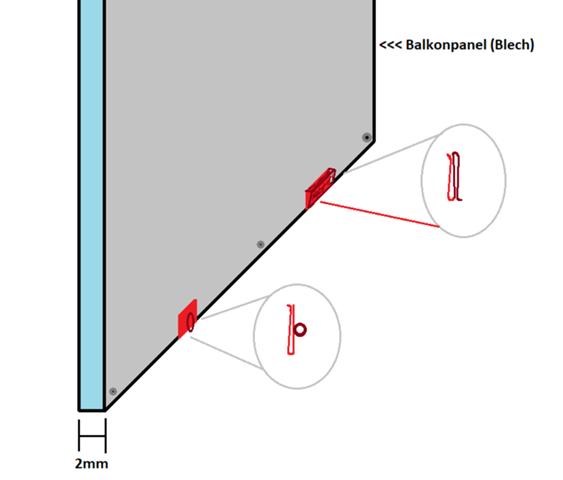 Befestigung Netz an Blechbalkon?