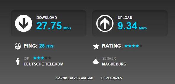 Speedtest von Kumpel, W-Lan, 50k Leitung - (Computer, Internet, Ping)