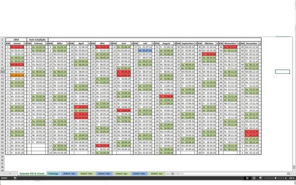 Kalender - (Excel, wenn-Funktion, bedingte-formatierung)