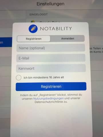bei Notability anmelden?